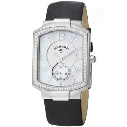 Philip Stein Women's 'Signature' Black Leather Strap Watch