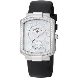 Philip Stein Women's 'Signature' Black Rubber Strap Watch