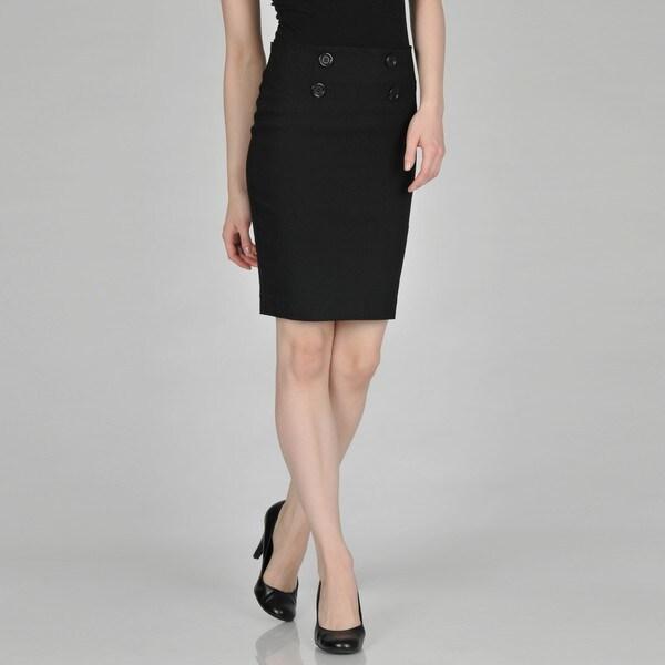 Addiction Juniors 4-button Stretch Black Skirt