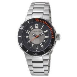 Philip Stein Men's 34-BGR-SS 'Active Extreme' Black-Dial Stainless-Steel Swiss Quartz Watch
