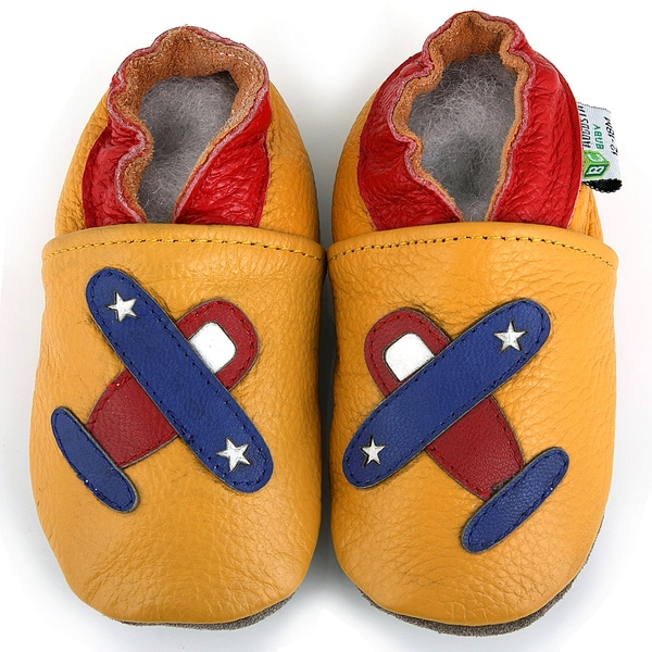 Airplane Soft Sole Leather Baby Shoes