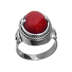 Sterling Silver 'Dragon Eye' Carnelian Solitaire Ring (Indonesia)