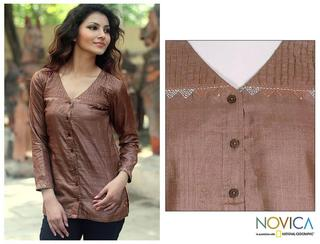 Silk 'Brown Shimmer' Blouse (India)
