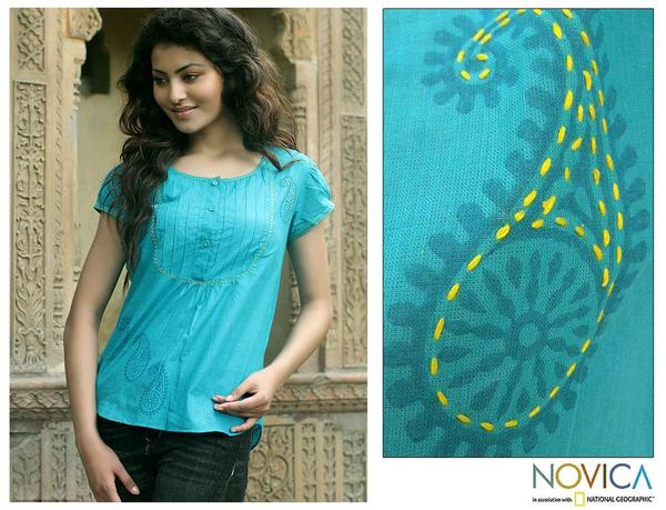 Cotton 'Feminine Turquoise' Blouse (India)