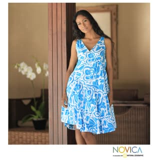 Cotton 'Balinese Sea' Batik Dress (Indonesia)