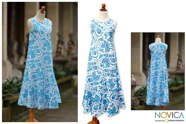 Cotton 'Bali Blue' Batik Dress (Indonesia) - Overstock Shopping ...