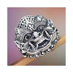 Sterling Silver Men's 'Benevolent Boma' Onyx Ring (Indonesia)