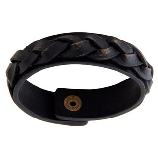 Distressed Leather Men's 'Java Journeys' Bracelet (Indonesia)