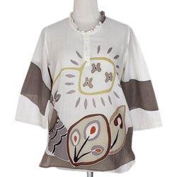 Cotton 'Flirty Peacock' Batik Tunic (Thailand)