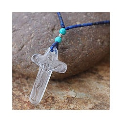 Lapis Lazuli and Quartz 'Crystal Crucifix' Necklace (Thailand)