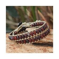 Jasper and Agate 'River of Roses' Wrap Bracelet (Thailand)