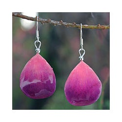 Natural Orchid Petal 'Chiang Mai Kiss' Earrings (Thailand)