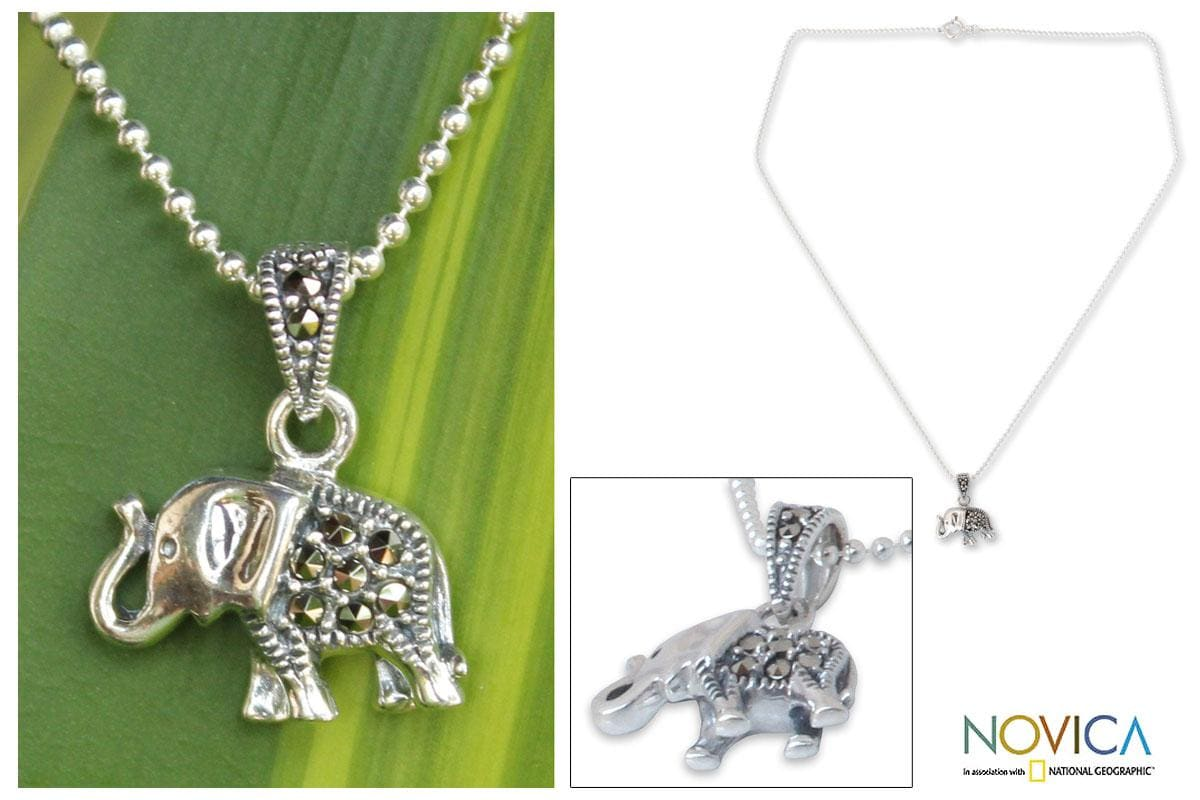 Sterling Silver 'Thai Elephant' Marcasite Necklace (Thailand)