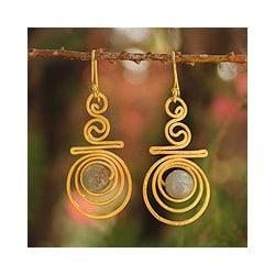 Gold Overlay 'Follow the Dream' Labradorite Earrings (Thailand)