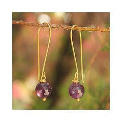 Gold Overlay 'Songkran Moon' Amethyst Earrings (Thailand)