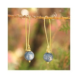 Gold Overlay 'Songkran Moon' Kyanite Earrings (Thailand)