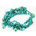 Blue Multi Strand Czech Beaded Bracelet (Guatemala)
