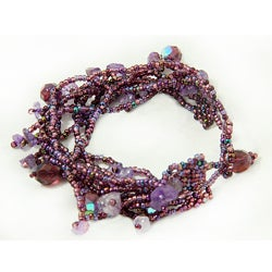 Purple Multi Strand Czech Beaded Bracelet (Guatemala)