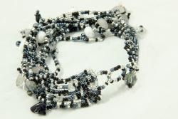 Multi-Strand Czech Black/White Beaded Bracelet (Guatemala)