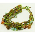 Multi-Strand Czech Green/Brown Beaded Bracelet (Guatemala)