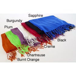 Cashmere Showroom Wool/Silk Extra-wide Luxury Wrap with Fringed Ends