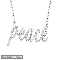 Silver 1/5ct TDW Diamond Expression 'Peace' Necklace (H-I, I2-I3)