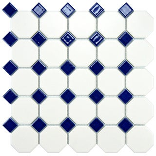 Somertile 11-5/8x11-5/8-inch Victorian Octagon Matte White with Cobalt Dot Porcelain Tile (Case of 10)