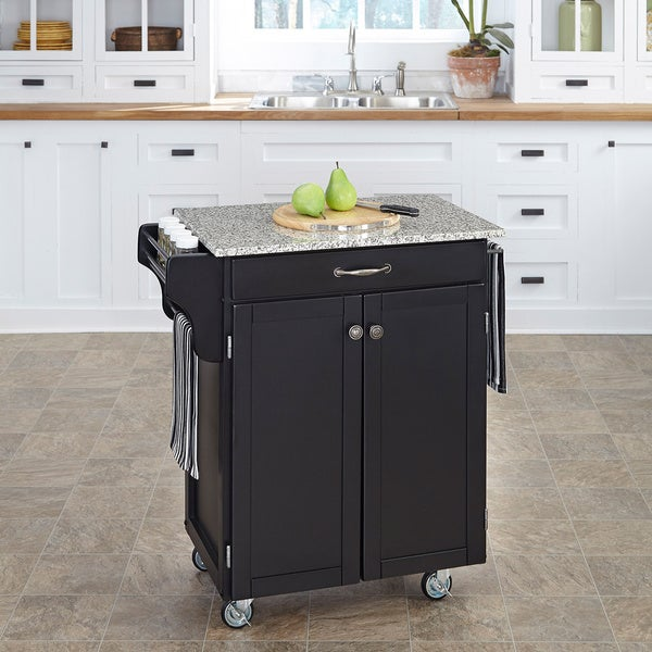 Home Styles Cuisine Cart Black Finish SP Granite Top