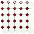 Somertile 11-5/8x11-5/8-inch Victorian Octagon White with Burgundy Dot Porcelain Tile (Case of 10)