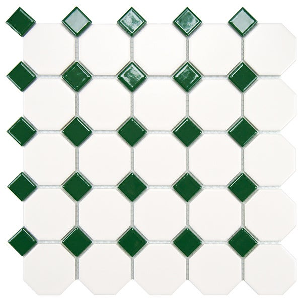 Somertile 11-5/8x11-5/8-inch Victorian Octagon Matte White with Green Dot Porcelain Tiles (Case of 10)