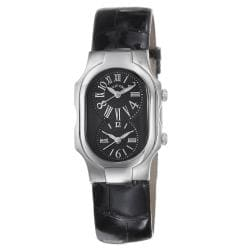 Philip Stein Women's 'Signature' Black-Strap Dual-Time Chronograph Watch