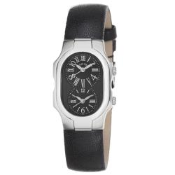 Philip Stein Women's 'Signature' Black-Dial Black-Leather-Strap Watch