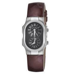 Philip Stein Women's 'Signature' Brown Leather Strap Dual Time Watch
