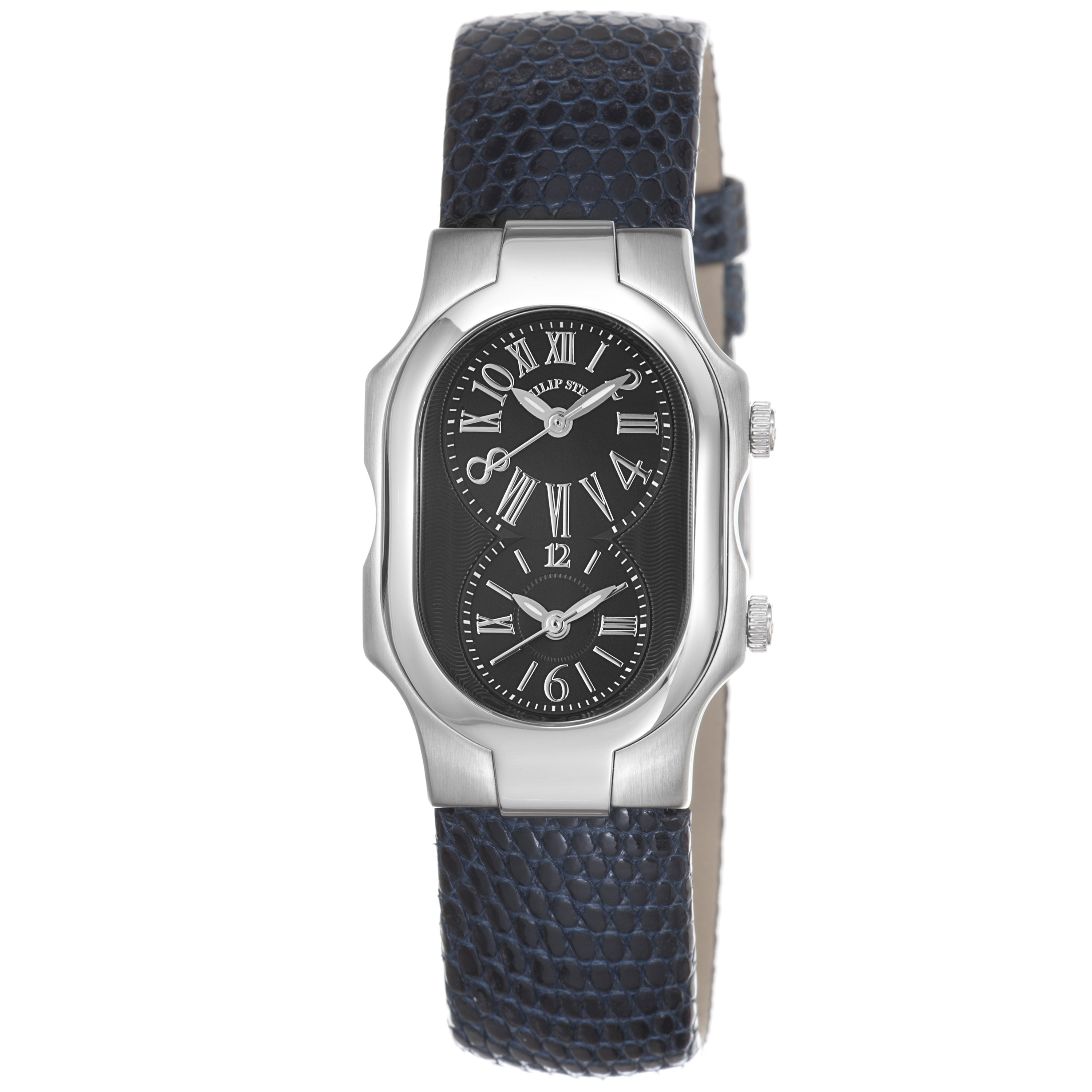 Philip stein women 39 s 39 signature 39 blue leather strap dual time watch 14173818 overstock for Philip stein watches