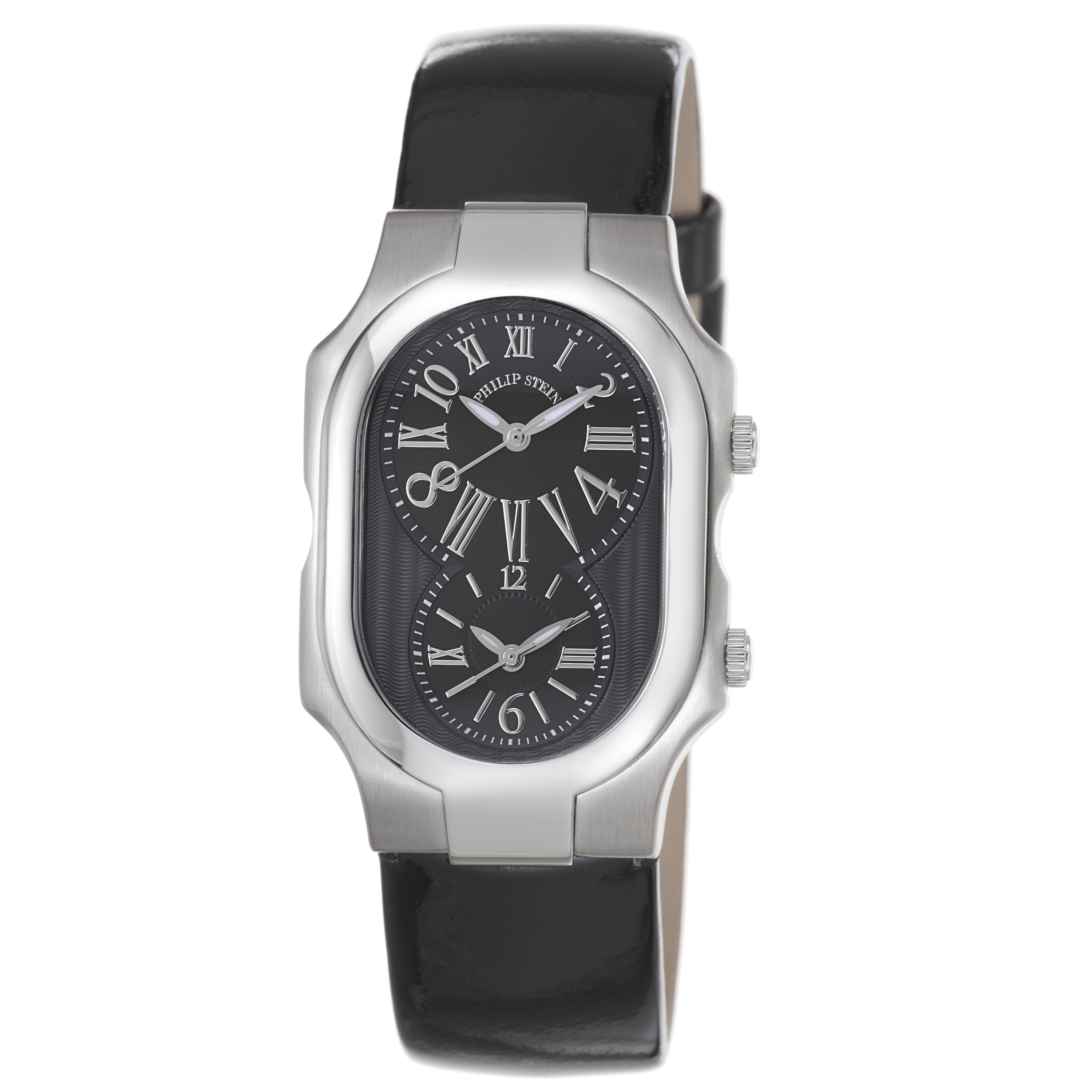 Philip stein women 39 s 39 signature 39 black patent leather strap watch with silvertone hands for Philip stein watches