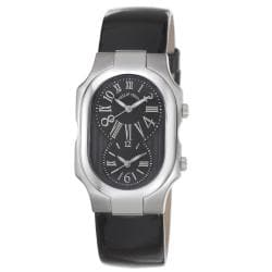 Philip Stein Women's 'Signature' Black Patent Leather Strap Watch with Silvertone Hands