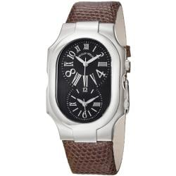 Philip Stein Women's 'Signature' Water-Resistant Brown Strap Dual-Time Watch