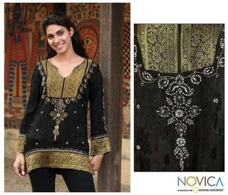 Viscose 'Midnight Splendor' Beaded Tunic (India)