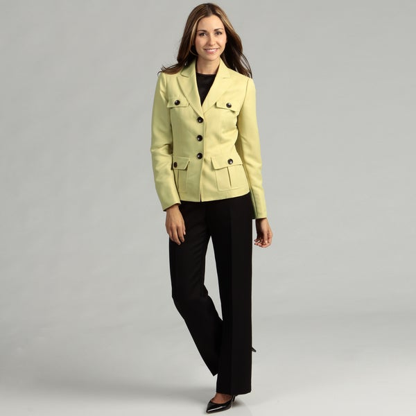 Evan Picone Women's Zesty/ Black 3-button Pant Suit