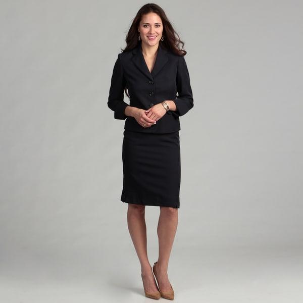 Evan Picone Women's Three-button Notch Collar Pin Dot Skirt Suit