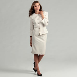 Evan Picone Women's Beige/ Gold 4-button Skirt Suit