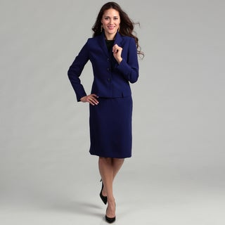 Evan Picone Women's 3-button Trapunto Wing Collar Skirt Suit