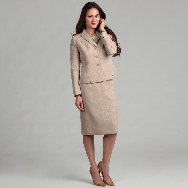 Evan Picone Women's 3-button Ruffle Collar Skirt Suit
