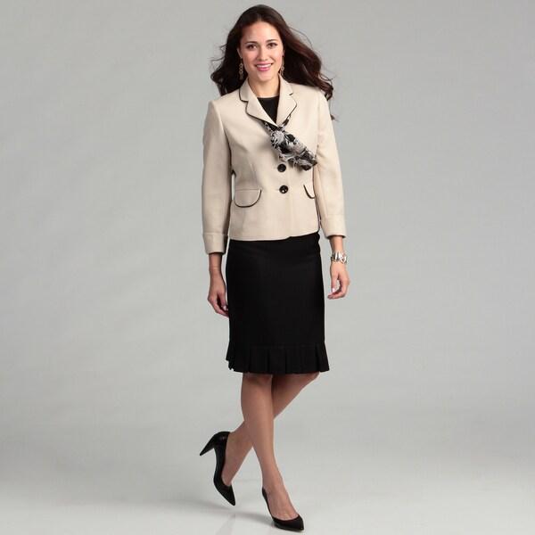 Evan Picone Women's Three-button Pleasted Hem Skirt Suit