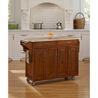 Copper Grove Puff Island Cottage Oak Wooden Top Kitchen Cart