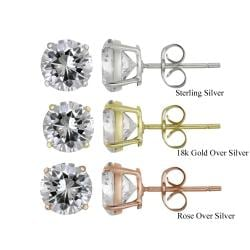 Icz Stonez Sterling Silver 6.92ct CZ Round Stud Earrings