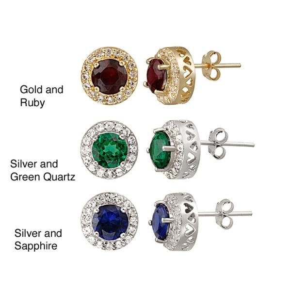 Glitzy Rocks Sterling Silver Ruby and Sapphire Stud Earrings