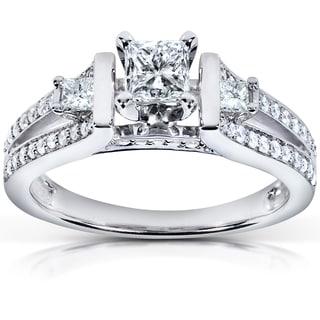 Annello 14k White Gold 3/4 ct TDW Diamond Three-stone Engagement Ring (H-I, I1-I2)