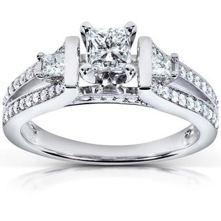 Annello 14k White Gold 3/4 ct TDW Diamond Three-stone Engagement Ring (H-I, I1-I2)