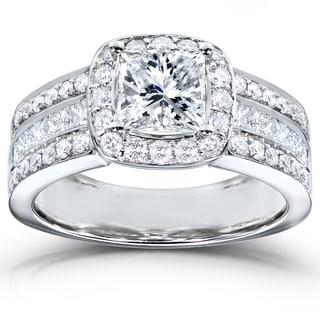 Annello 14k White Gold 2ct TDW Diamond Engagement Ring (H-I, I1-I2) with Bonus Item